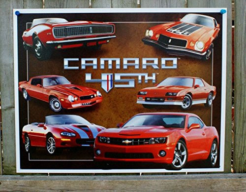 Chevy Chevrolet Camaro 45th Anniversary Tin Sign 13 x 16in (Poster Camaro)