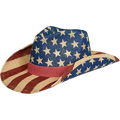 Burlap Patriotic American Flag Cowboy Hat -