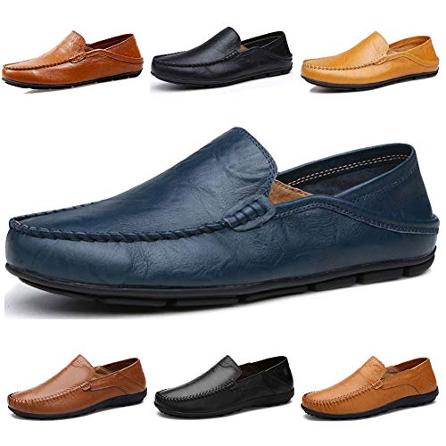 Lapens Men's Driving Shoes Premium Genuine Leather Fashion Slipper Casual Slip On Fashion Sneakers Breathable Mules Sandals Loafers Shoes LPMLFS137-DB41 Deep Blue
