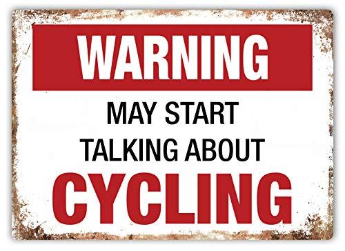 警告サイクリングについて話し始めることがあります 金属板ブリキ看板注意サイン情報サイン金属安全サイン警告サイン表示パネル