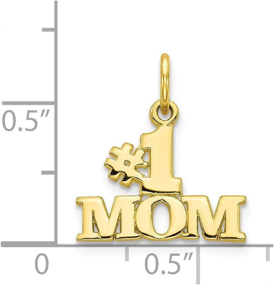 10K Yellow Gold Charm Pendant Themed 18 mm 16 Mom