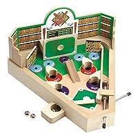 Classic Retro Wooden Baseball Pinball Game – Baseball Pinball Tabletop Flipper Toy