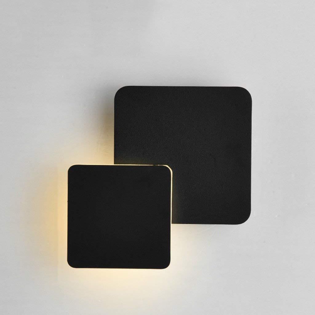 schwarz Wandleuchten 360° rotierende Wandleuchte LED Nachttischlampe Schlafzimmer Gang Treppe Wandleuchte (Farbe  Schwarz)