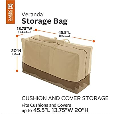 Classic Accessories Veranda Water-Resistant 45.5 Inch Patio Cushion and Cover Storage Bag : Patio Chair Covers : Garden & Outdoor