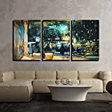 wall26 - 3 Piece Canvas Wall Art - Painting Showing Colorful Interior of Bar and Restaurant at Night - Modern Home Decor Stretched and Framed Ready to Hang - 24''x36''x3 Panels