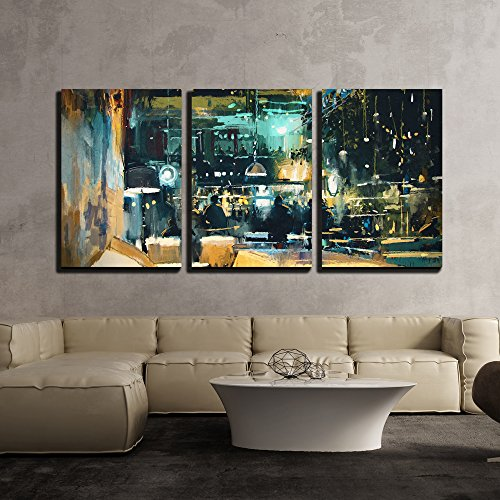 wall26 - 3 Piece Canvas Wall Art - Painting Showing Colorful Interior of Bar and Restaurant at Night - Modern Home Decor Stretched and Framed Ready to Hang - 24''x36''x3 Panels by wall26