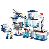 WOMA City Police Station Patrol Car & Helicopter Policemen Figures Building Set Lego Compatible Brick Construction Toys Kids 6-12 Years Old - 624pcs