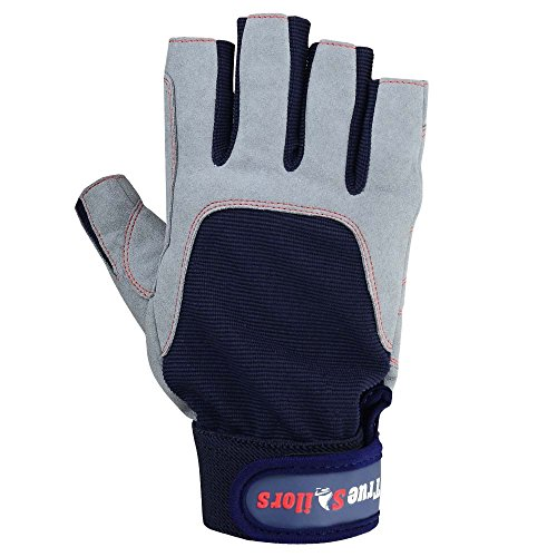 MRX BOXING & FITNESS Sailing Gloves with 3/4 Finger and Grip for Men and Women, Great for Kayaking, Workouts and More Blue/Grey