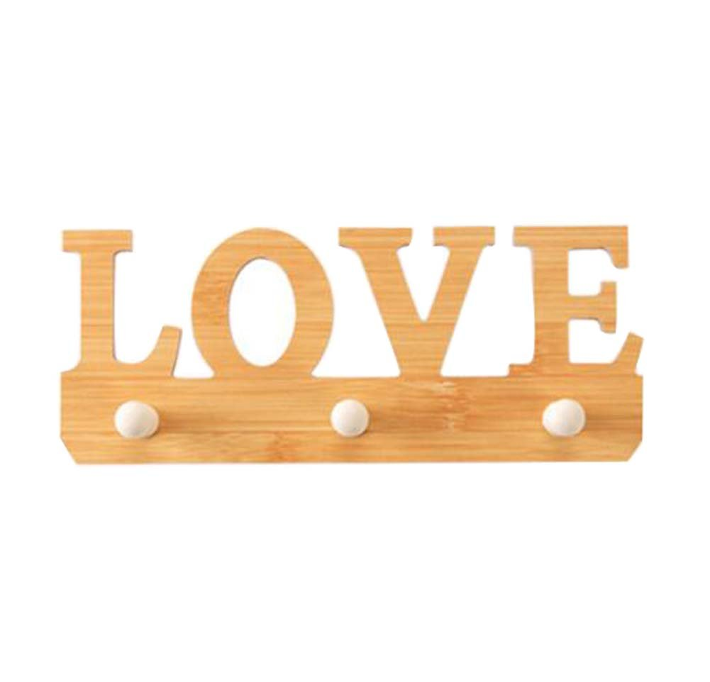 DRAGON SONIC Simple Wooden Viscose Hook Door Hook Nail-Free Adhesive Wall Hook-Love