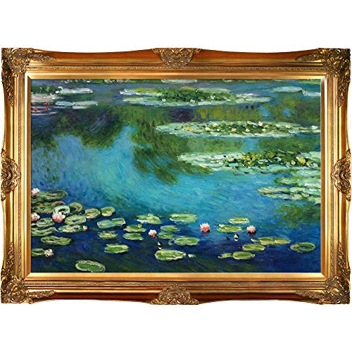 - overstockArt Monet Water Lilies Painting with Victorians Gold Finish Frame
