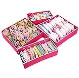Set of 4 Foldable Storage Bin, Storage Box for Bra, Socks and Scarves, Closet Underwear Organizer Drawer Divider (Hot Pink)