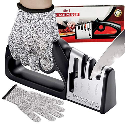 Knife Sharpeners HYIN-FWFU 4-Stage Pro Kitchen Chef Knife and Scissors Sharpeners with Glove Best Kitchen Accessories to Repair Restore Polish Blades Quickly Safely for Utility Knife Chef Knife Blades