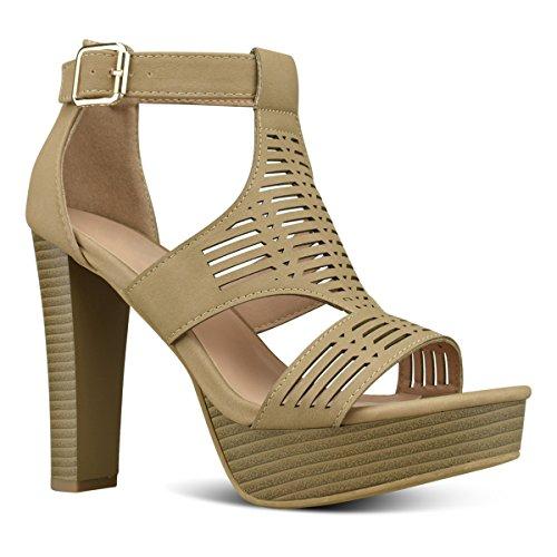 Tan Shoes Heels (Premier Standard Women's Laser Cut Out Ankle Strap High Heel - Open Toe Sandal Pump - Chunky Wooden Heel Platform Shoe, TPS Heels-05Samoht Tan Size 7)