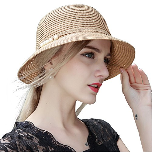 Kekolin Womens Floppy Summer Sun Beach Straw Hats Accessories Wide Brim  Foldable 27fedce96f28
