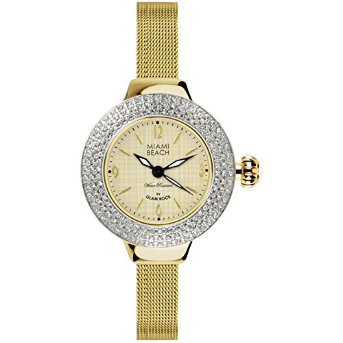 Glam Rock Miami Beach Art Deco collection MBD27180 36mm Stainless Steel Case Gold Plated Stainless Steel Mineral Women's Watch