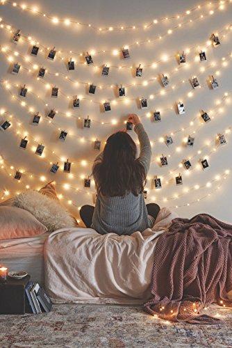 66 Ft 200LEDs Impermeable Starry Fairy Cobre Luces de la secuencia USB Alimentado para el dormitorio Interior al aire libre Blanco cálido Ambiente Iluminación para el patio Fiesta de Navidad Acción de gracias Decoración de la boda de Halloween