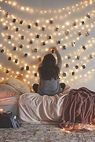 66 Ft 200LEDs Waterproof starry fairy copper string lights USB Powered for Bedroom Indoor Outdoor Warm White Ambiance Lighting for Patio Wedding Decor Power Adapter - Dark Sky Chain