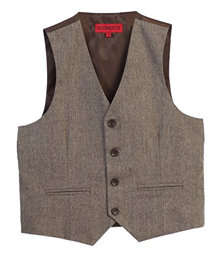 Gioberti Boy's Tweed Plaid Formal Suit Vest, Herringbone Tan, Size ()