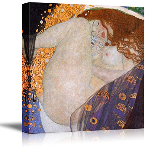Danae by Gustav Klimt Famous Fine Art Reproduction World Famous Painting Replica on ped Print Wood Framed