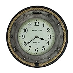 Magoo's 20 Round Wall Clock - Ship's TIME New York Porthole Clock with Rope Trim