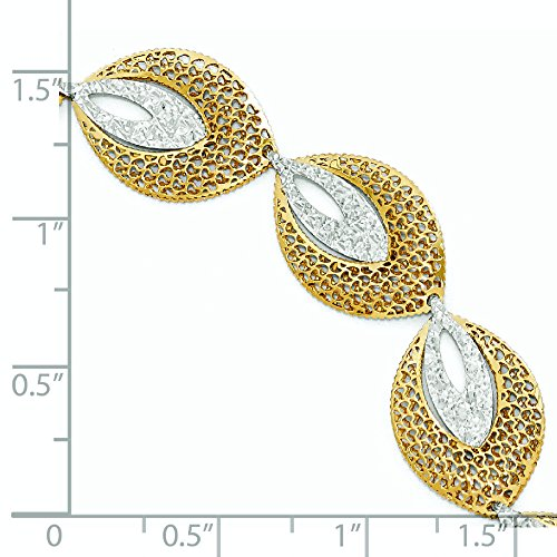 Bracelet bicolore 14 carats-Fantaisie-JewelryWeb 7,5 cm