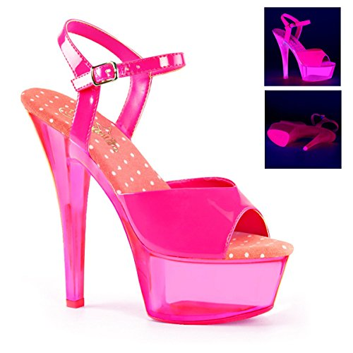 "Pleaser 1 3/4"" PF Ankle Strap Sandal, Neon UV Reactive, Neon H.Pink Pat/Neon Transparent H.Pink, Size - 9 from Pleaser"