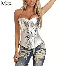 Zytree(TM) Fashion Lingerie overbust Silver Shiny Zipper sexy Corset top waist training corsets and bustiers