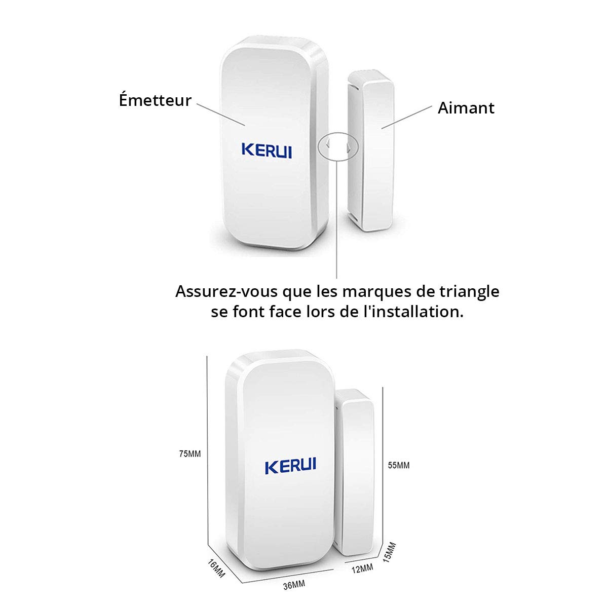 KERUI/3 x Magnetic Wireless Sensor Intruder Alarms for Doors and Windows