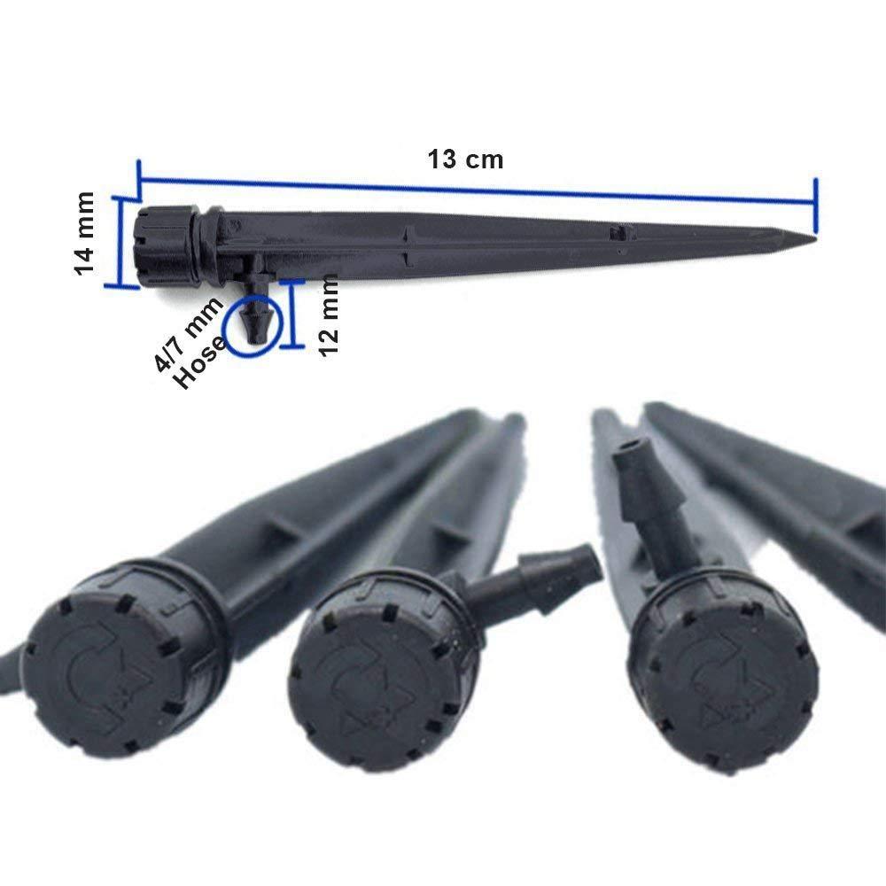 TOOGOO 50 Piezas Emisores de Goteo 7 Mm. Sistema de Riego de Agua de Flujo Ajustable A 360 Grados Gota Y Soportes 50 Piezas Estacas Perfectas Para Tubos de 4 Mm