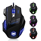 Zelotes Gaming Mouse,7 Buttons Wired Mouse,1000/1600/2400/3200/7200DPI,LED Optical USB Ergonomic Gaming Mice for Gamer PC Mac Notebook,Computer,Macbook (Black)