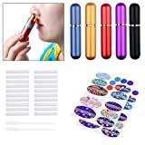 vaporizer oil pen - Kare & Kind Inhaler Tubes- Aluminum and Glass - For DIY Essential Oil Aromatherapy Use - Refillable - 5 elegant inhaler tubes, 25 wicks, 1 opening tool, 78 writable stickers, 2 mini droppers