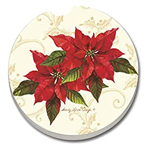 Counter Art Absorbent Stoneware Merry Christmas Greeting Car Coaster