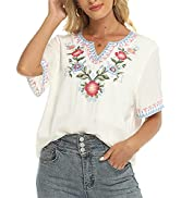 Higustar Women's Casual Embroidered Short Sleeve Shirts Bohemian Blouses Mexican Ethnic Bohemian ...
