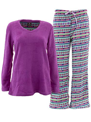 Donna L'oren Women's Owl Fair Isle Purple Fleece Pajamas XL