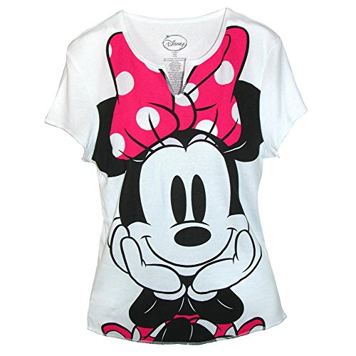 Mouse T-shirt - Disney Womens Minnie Mouse Tee Shirt Top, XL, White