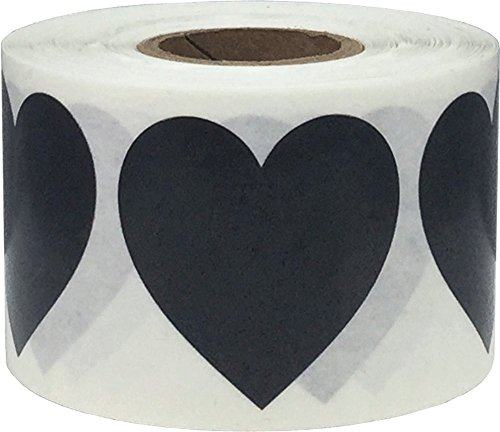 Black Heart Stickers, 1.5 Inches in Size, 500 Labels on a Roll by InStockLabels.com