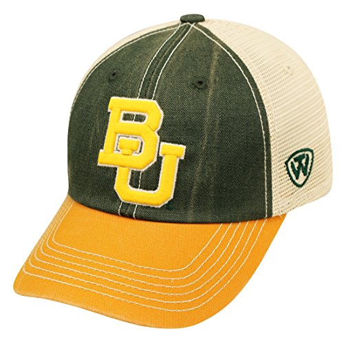 Adj Cap Khaki - Top of the World NCAA Baylor Bears Offroad Snapback Mesh Back Adjustable Hat, One Size, Dark Green/Gold/Khaki