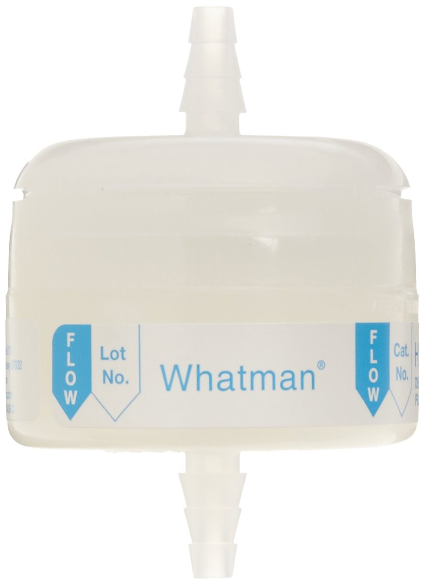 Whatman 6702-3600 Hepa-Cap 36 In-Line Venting Filter, 60 psi Maximum Pressure, Inlet 1/4'' to 3/8'', Outlet 1/4'' to 3/8'' Stepped Barb by Whatman