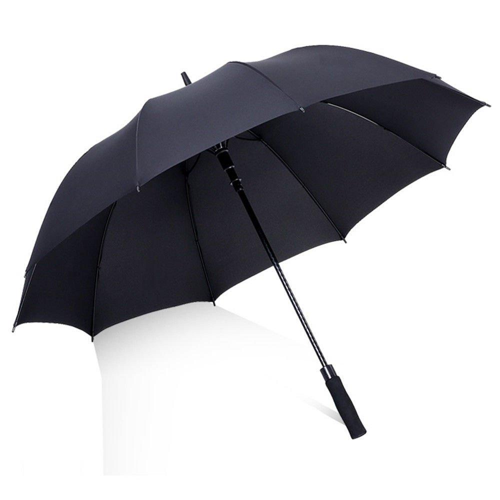 Guoke 10 Bone Umbrella Long Handle A Large Number Of Men And Women Double Fine Rain Two Super Large Antique Auto Umbrella, Single-Layer Black 135