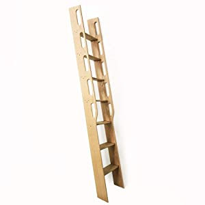 "Oak Wood Ladder, Library Ladder, Unassembled - TFK-LDR-MD2-6, 7, 8 Foot x 16"" Width - Hardware not Included (8 FT)"