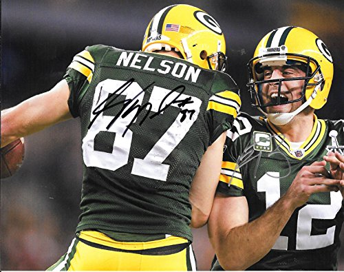 Aaron Rodgers & Jordy Nelson Autographed Signed Green Bay Packers 8 x 10 Photo - Mint Condition - COA From Nostalgic Cards & (Green Autographed Photo)