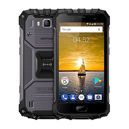 Ulefone Armor 2 5.0 Inch Android 7.0 Unlocked Smartphone - Waterproof Shockproof Dustproof MT6753 64Bit Octa core 1.3GHz 6GB RAM + 64GB ROM 16MP/13MP Camera 4G Dual SIM Mobile Phone Black