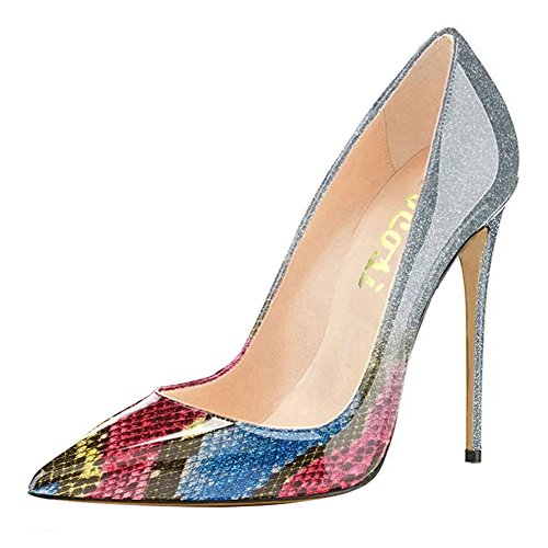 VOCOSI Pointy Toe Pumps for Women,Patent Gradient Animal Print High Heels Usual Dress Shoes Multicoloured 13 US