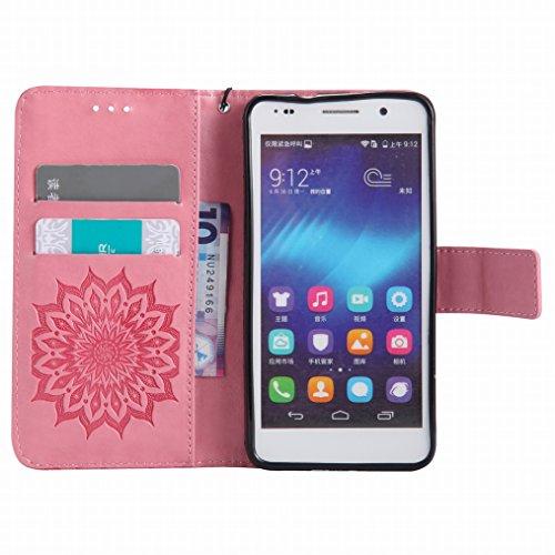 LEMORRY Huawei Honor 6 Custodia Pelle Cuoio Flip Portafoglio Borsa Sottile Bumper Protettivo Magnetico Morbido Silicone TPU Cover Custodia per Huawei Honor 6, Fiorire Rosa