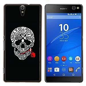 YiPhone /// Prima de resorte delgada de la cubierta del caso de Shell Armor - Cráneo Rojo Sangre rollo de la roca Guitarra Música - Sony Xperia C5 Ultra
