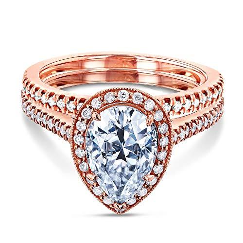 (Pear Shape Moissanite Halo Bridal Set (2 3/5 CTW) - rose-gold / 11.0 / Kobelli F-G)
