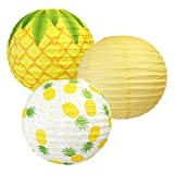 Just Artifacts 12inch Hanging Paper Lanterns (Pineapple Pattern, 3pcs)