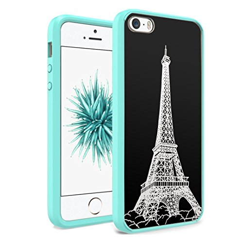 iPhone SE Case, iPhone 5s / iPhone 5 Case, Capsule-Case Hybrid Slim Hard Back Shield Case with Fused TPU Edge Bumper (Teal Green) for iPhone SE / iPhone 5s / iPhone 5 - (Eiffel Tower Paris)