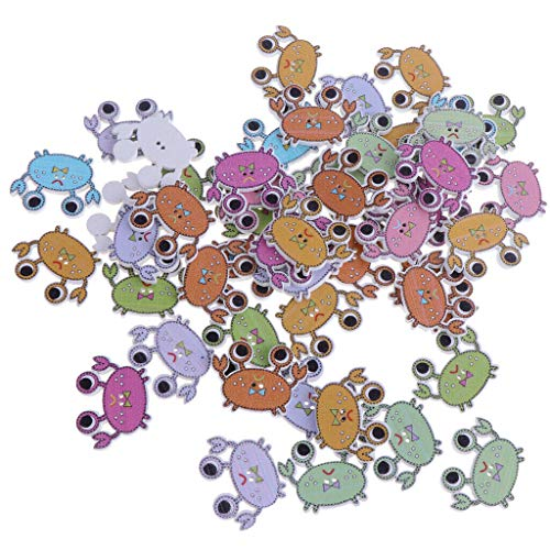 (50 Pcs DIY Cartoon Wooden Handmade 2-Holeds Crab Sewing Scrapbooking Crafts | Style - Style1)