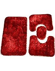Turkey Bath Shag Carpet Set - 1 X 1 - Red , 2724629824387
